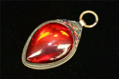 "2.76"" Collection Old Tibetan silver Cloisonne Handmade inlay red Zircon Pendant"