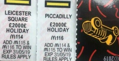 McDonalds 2019 Monopoly-Leicester Square & Piccadilly-NDD/FAST CODE PICS-Yellow