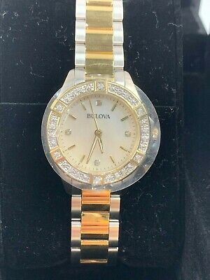 Bulova Two Tone Gold Stainless Steel MOP Diamond Watch Mother Pearl - 98R236