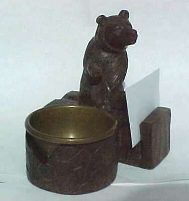 Antique Black Forest Carved Bear With Brass Bowl