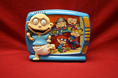 fb4a9711d7 RUGRATS Nickelodeon 1998 RARE Blue Plastic Lunch Box TV Cartoon Tommy  Chuckie