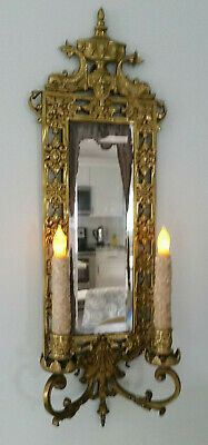 OMG Antique 1880's ? Cast Brass Mirror Candle Sconce Bradley Hubbard ? Victorian