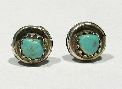 Vintage Old Pawn 1930s Zuni Handmade 925 Silver Natural Turquoise Post Earrings