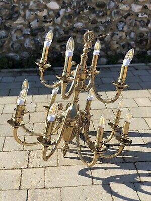 Large French Antique Louis XIV 12 Arm Solid Brass Chandelier