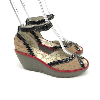 42e754c18a Fly London Womens Wedges Heels Platforms Peep Toe Perforated Ankle Strap Sz  7