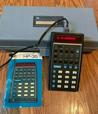 Vintage HP-35 LED Scientific Calculator W/ Leather Case, Charger, Booklet, & Box