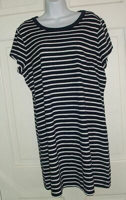 a98d56b4b7ea9 LANDS END navy striped terry cloth SWIMSUIT COVER UP DRESS Womens M 10 12