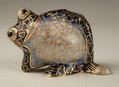 Rare Chinese Cloisonne Hand-Carved Frog Statue Animal Old Collection