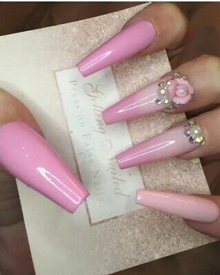 Set Of 20 Hand Painted Rose Ombré Full False Nails.