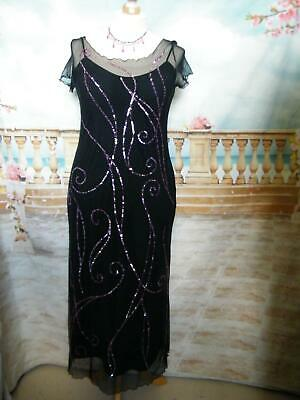 Phase Eight Long Dress/Ballgown 16 Black Sequined Evening Cruise Stretch Formal