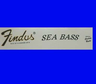 # # Findus Sea Bass Fun Decal For Your Bass Guitar Neck - In Gold # #