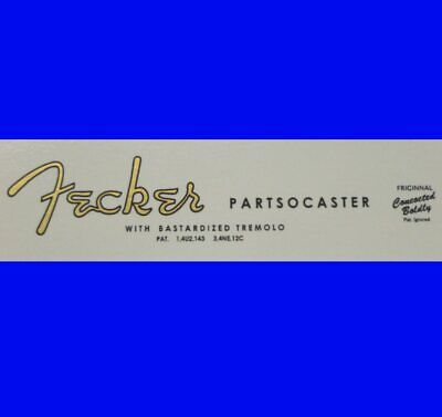 # # Fecker Guitar Decal For Your Small 'S' Type  Guitar Neck - In Gold # #