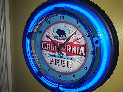 California Brewing Co. Beer Bar Man Cave Advertising Blue Neon Wall Clock Sign