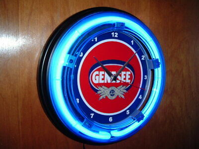 Genesee Beer Bar Man Cave Advertising Blue Neon Wall Clock Sign