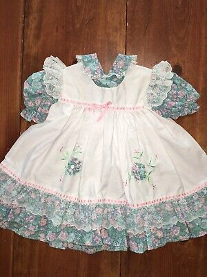 Girls RARE Vintage Pinafore Apron Ruffle Frilly Party Dress 2T Floral Lace EUC