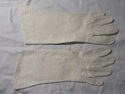 Genuine c1960s Ladies Evening Gloves  - Size 7 Long Perforated Nylon Simplex