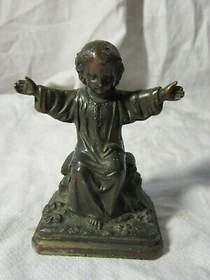 "CHILD JESUS CHRIST French Antique Bronzed Spelter Sculpture Statue VM224 4"" High"