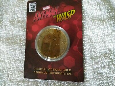 Ant-Man & The Wasp Antique Gold Coin 38m  Marvel Limited Licensed Very Rare