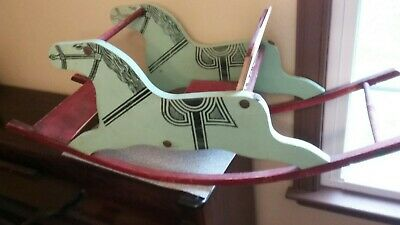 Vintage Wooden Rocking horse Hand Painted Hand Made