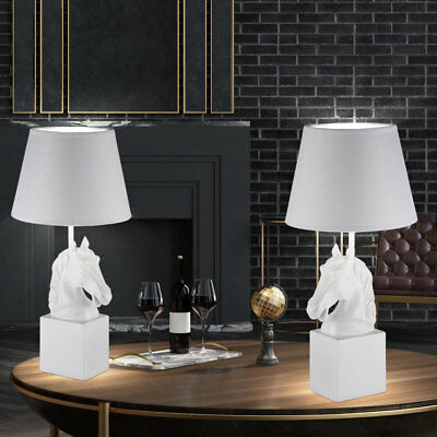 Set of Two Horses Design Table Lamps Night Lights Sleep Room White