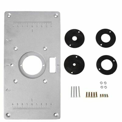 Aluminum Router Table Insert Plate w/4 Rings Screws for Woodworking Benches B9S2