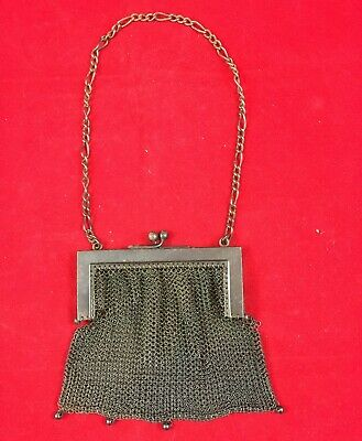 "Antique Art Deco Style Metal Mesh Purse, ""Real Gun Metal"", France, Early 1900s"