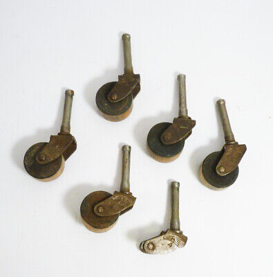 Vintage Wheels Casters Furniture Table Chair Dresser Steel / Wood Lot x 5