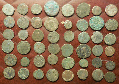 Lot of 48 Ancient Late Roman Coins, Largest 22 mm and all have Details!