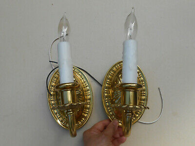 2 Antique 1920s Brass Wall Sconces w. Faux Candles Rewired to Electric