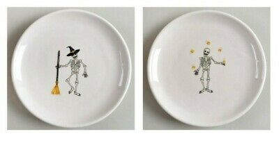 "RAE DUNN by Magenta 6"" Dancing Skeleton Appetizer Plates 2018 Set of 4 Halloween"