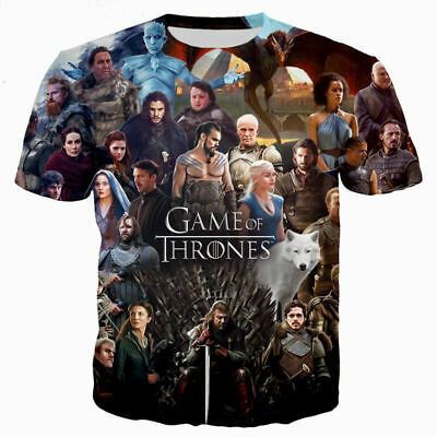 Game of Thrones 3D T-Shirt Full Print Color Tee Men Women Fashion Size S - 6XL