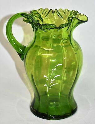 Antique Mary Gregory Green Glass Pitcher