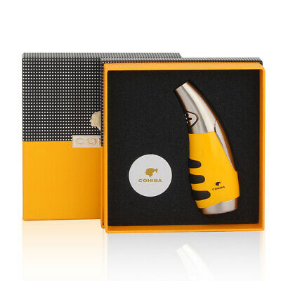 COHIBA Single Torch Jet  Flame Cigarette Cigar Lighter Butane Windproof Yellow