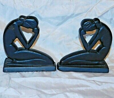 Pair Of Antique Art Deco, Cast Iron Bookends, Vg Cond