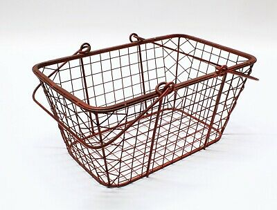 Vintage Wire Basket Industrial Metal Wire Bin