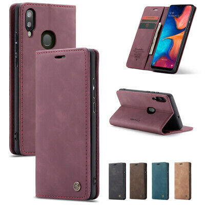 For Samsung Galaxy A30 A20 A40 Vintage Leather Magnetic Wallet Card Case Cover