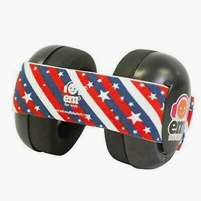Ems for Kids Baby Infant Earmuffs Black with Stars and Stripes Made in U.S.A.