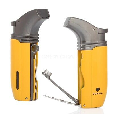COHIBA Metal 2 Torch Jet Flame Butane Cigarette Cigar Lighter With Cigar Punch