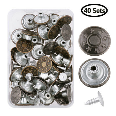 40 Sets 0.68inch Metal Jeans Buttons Tack Snap Replacement with Rivets and Box