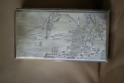 Antique Japanese Late Meiji Pure Silver 950/1000 Box,Mount Fuji,Signed & Marked
