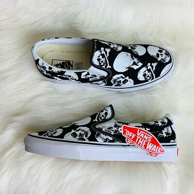 Vans Classic Slip-On Skulls Black & White Skate Shoes Men's SZ 10.5