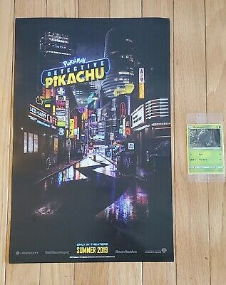 Pokemon Detective Pikachu Promo Movie Poster and Bulbasaur Holo Trading Card