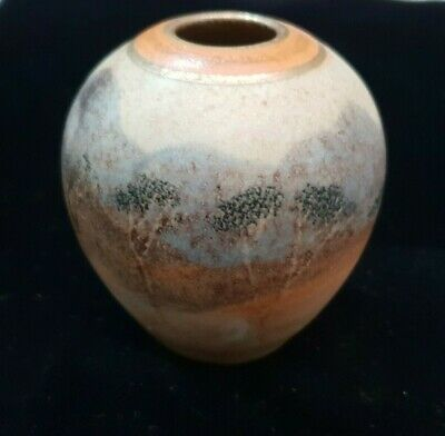Vintage Studio Made And Signed Australian Ceramic Pottery Pot With Tree Scene