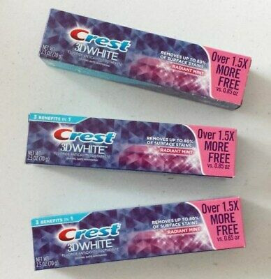 New X3 Crest 3D White Fluoride Anticavity Toothpaste Radiant Mint 2.5 OZ.