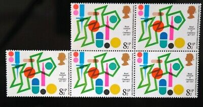 GB 1977 Royal Institute for Chemistry 8.5p Stamp - BLOCK OF 5 - Mint - NEXT DAY
