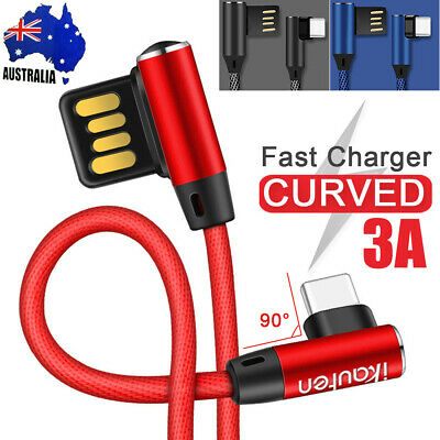 90°Elbow Type-C Fast USB Data Sync Charger Charging Cable For Samsung S10 S9 S8