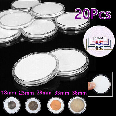 20pcs 45mm Coin Holder Plastic Adjustable With Storage Capsules Round Cases Kits