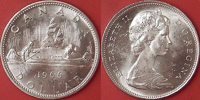 Brilliant Uncirculated 1966 Canada Silver 1 Dollar From Mint's Roll