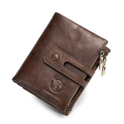 USA Bullcaptain Mens Wallet Genuine Leather Purse RFID Coins Wallets With Zipper