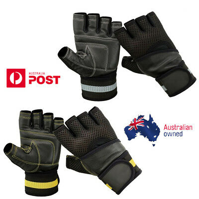 Leather Gloves Weight Lifting Fitness Bodybuilding Strength Training Wrist